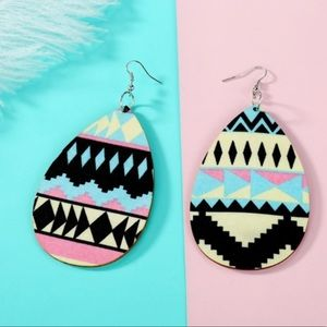 Black Boho Aztec Print Tear Drop Earrings